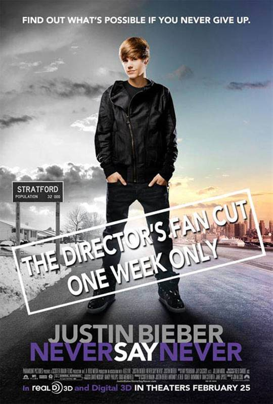 Justin Bieber: Never Say Never - The Director's Fan Cut Large Poster